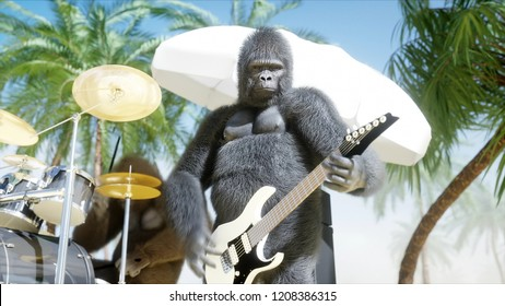 Funny 3d gorillas and monkeys play on guitar and drums. Rock party on sunny seaside. 3d rendering.