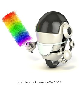funny 3d robot in the maid uniform holding the feather duster isolated on the white background