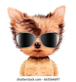 Funny adorable doggy girl with aviator sunglasses, isolated on white. Vacation concept. Realistic 3D illustration