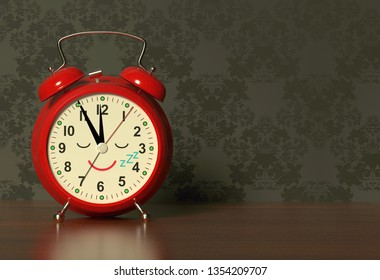 Funny alarm clock sleeps on a bedside table in dark bedroom. 3D rendering