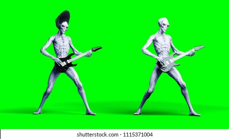 Funny alien plays on electric guitar. Realistic motion and skin shaders. 3d rendering.