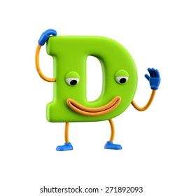 Funny alphabet character. Letter D. Isolated on white background.
