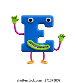 Funny alphabet character. Letter E. Isolated on white background.