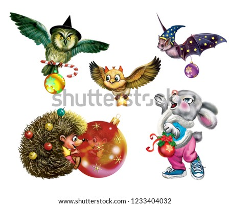 Royalty Free Stock Illustration Of Funny Animals Christmas Toys