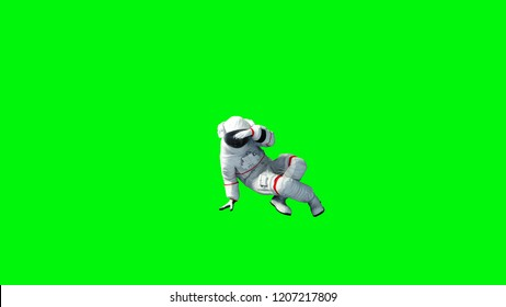 Funny astronaut dancing . Green screen. 3d rendering.