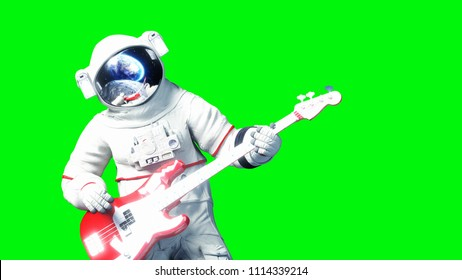 Funny astronaut play to bass guitar . Green screen. 3d renderimg.