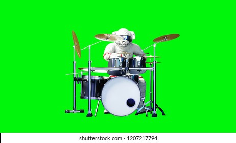 Funny astronaut play to drums . Green screen. 3d rendering.