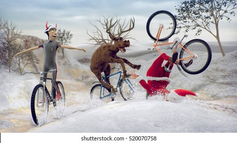 Funny Bad Santa Claus on bicycle with friends reindeer and devil krampus. Merry Christmas and Happy New Year! Saint Nicholas day.  Mannequin Challenge.