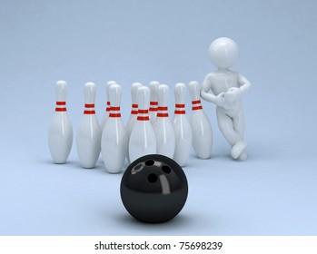 Funny ballhead man and bowling.