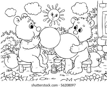 Funny bears blow balloons