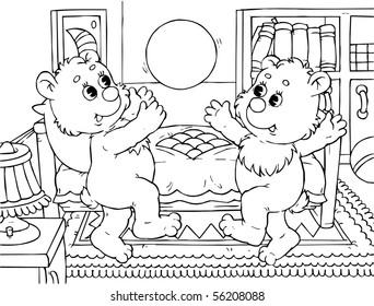 Funny bears bounce a ball