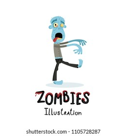 b792d8694 Funny blue zombie character in cartoon style. Halloween undead banner,  horror monster personage,