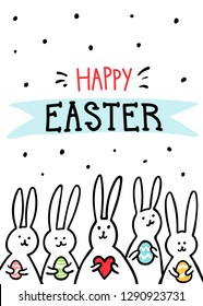 Funny bunny Easter Greeting card with white Easter rabbits. Illustration of cute bunnies with easter eggs and hearts and Happy Easter text. illustration