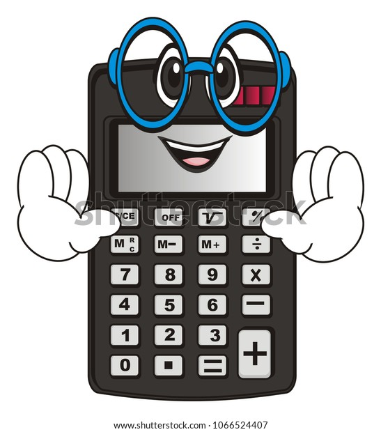 Funny Calculator Glasses Two Hands Stock Illustration 1066524407