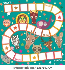 Funny cartoon animals game for Preschool Children, elephant deer horse, giraffe owl raccoon, wolf zebra lion, white orange squares on green background.