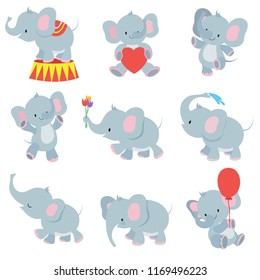 Funny cartoon baby elephants collection for kids stickers. Elephant funny character with flower and air balloon illustration