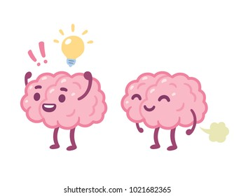 Funny cartoon brain character with happy face and lightbulb, and farting. Creative idea and stupid brain fart drawing. Cute illustration.