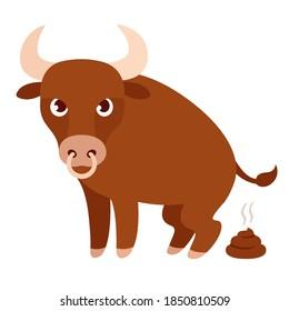 Funny cartoon bull pooping, bullshit illustration. Isolated clip art drawing.