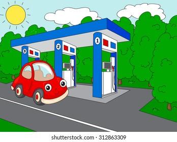 Funny cartoon car near the petrol station. illustration