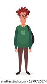 Funny Cartoon Character. Ginger Nerd