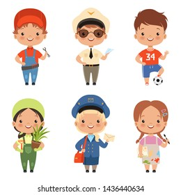 Funny cartoon children characters of various professions. Character profession child and kids, boy and girl. illustration