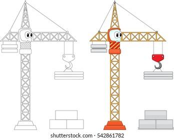Funny cartoon crane. Coloring book for kids