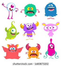 Funny cartoon creatures. Set of cartoon monsters: goblin or troll, cyclops, ghost,  monsters and aliens. Halloween design
