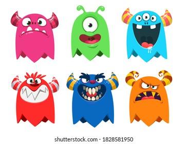 Hübsche Cartoon-Kreaturen. Set von Zeichentrickmonstern. Halloween-Design