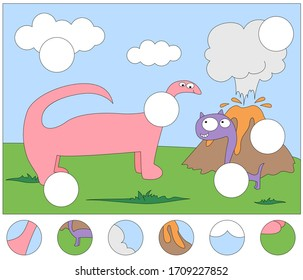 Funny cartoon dinosaurs and volcanic eruption. Complete the puzzle and find the missing parts of the picture. Educational game for kids