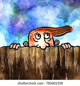 Funny cartoon doodle watercolour of a man peering over a fence.