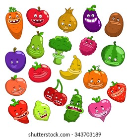 Funny cartoon fruits and vegetables characters, isolated on white