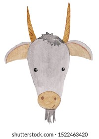 funny cartoon goat portster. watercolor illustration for prints, posters, cards, design