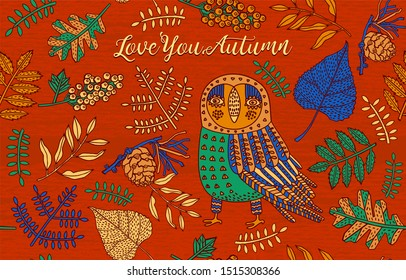 Funny cartoon illustration, with an owl and autumn leaves. Decorative card.