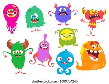Funny cartoon Monsters. Set of cartoon monsters: goblin or troll, cyclops, ghost,  monsters and aliens. Halloween design