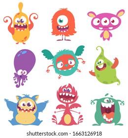 Funny cartoon monsters set. Halloween illustration
