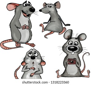Funny cartoon mouses. Set of mice. Grey rats. Isolated mouses characters