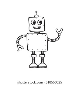 Funny cartoon robot isolated on white, hand drawn raster illustration, doodle style picture. Simple sketch design element for your creations, prints, banner, card, collage, graphics. Stick figure