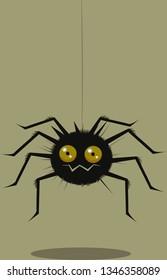 Funny cartoon spider suspended on  cobweb
