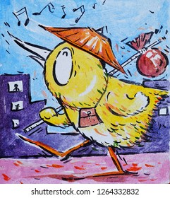 Funny Cartoon A Traveling Chicken, Illustration Cartoon
