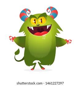 Funny cartoon troll or gremlin. Halloween illustration