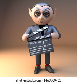 Funny cartoon vampire dracula character in 3d holding a movie makers film slate,3d illustration render