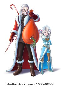 Funny cartoon warrior Santa and Snegurochka (Snow Maiden) with red bag and Candy canes  striped. New year card.