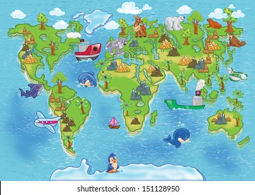 world map cartoon images stock photos vectors shutterstock rh shutterstock com cartoon world map poster cartoon world map poster