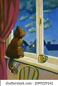 funny cat to the window in the evening sees the clouds and thinks is fishes surreal illustration