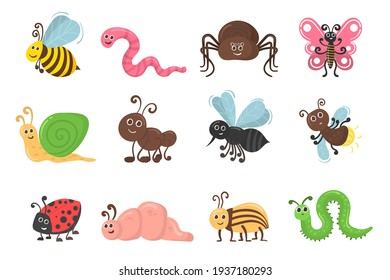 Funny caterpillar and butterfly, children bug, worm, mosquito and spider. Cute cartoon bug worm funny doodle character in flat design. Set of kawaii insect isolated on white background.