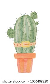 Funny character prickly green cactus in a belt and in a pot painted in watercolor on a white background