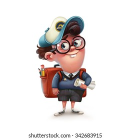 Funny character schoolboy. Graphic illustration.
