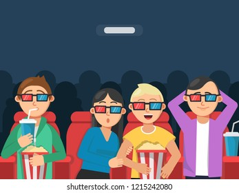 Funny characters watching scary movie in cinema. Horror movie film, scary young together female and male. illustration