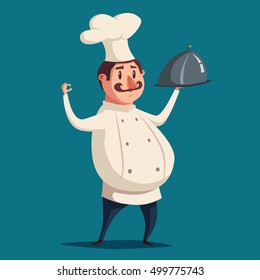 Funny chef, cute character. cartoon illustration. serving the dish. Fat man in hat