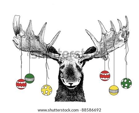 Funny Christmas Card Moose Design Cute Stock Illustration 88586692